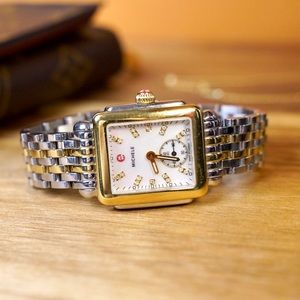 •1 DAY SALE• MICHELE Deco Two-Tone Diamond Watch